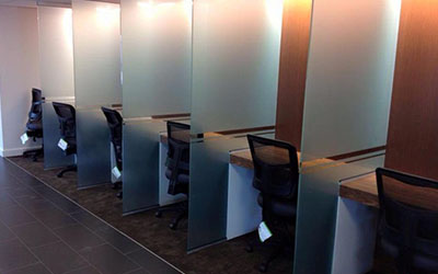 Decorative Window Film displayed as desk dividers